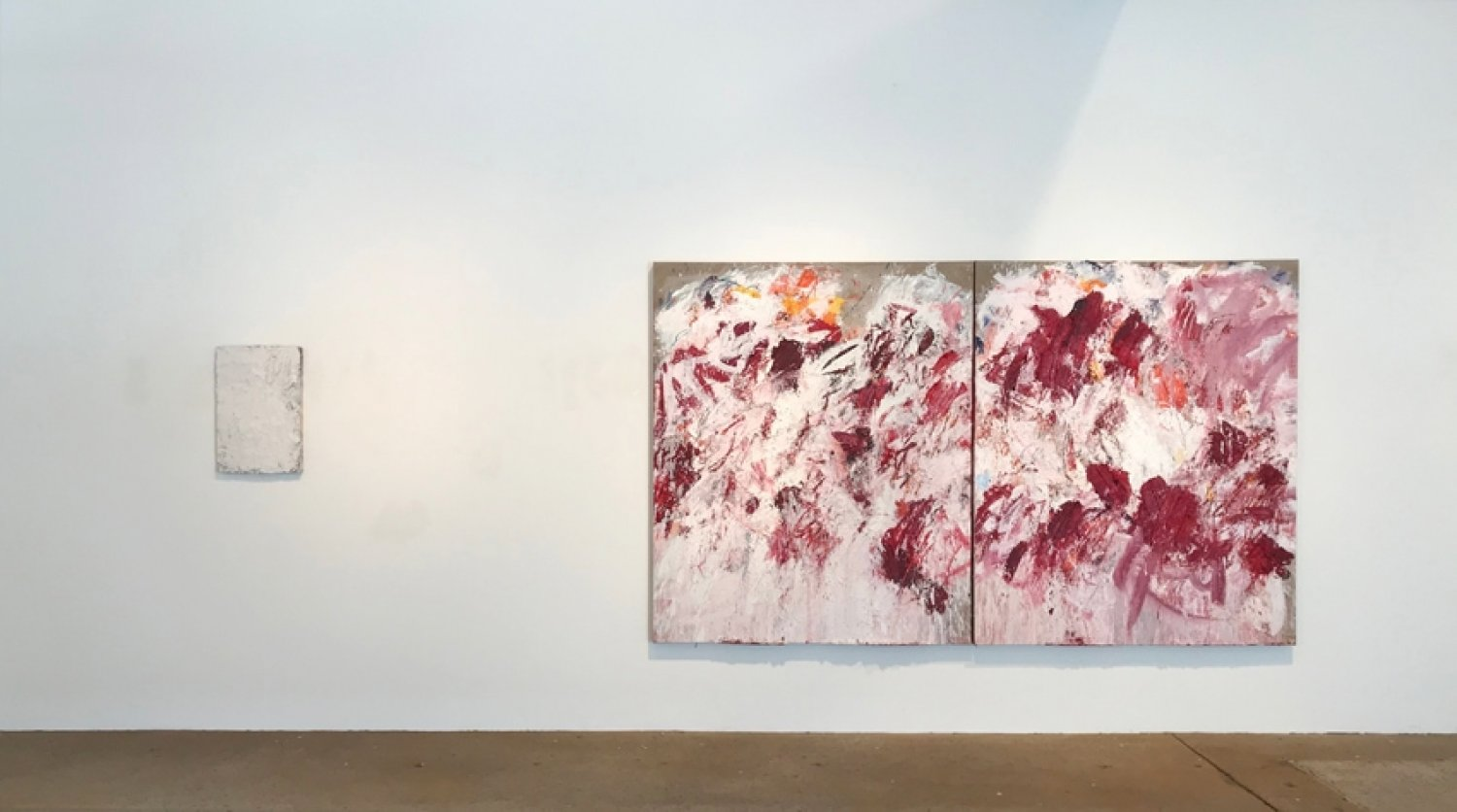 Aida Tomescu, Left: In a carpet made of water, 2017 oil and silver pigment on wood panel, 60 x40 cm. Right: Under the Iron of the Moon I, 2017 oil and silver pigment on canvas, 183 x 306 cm