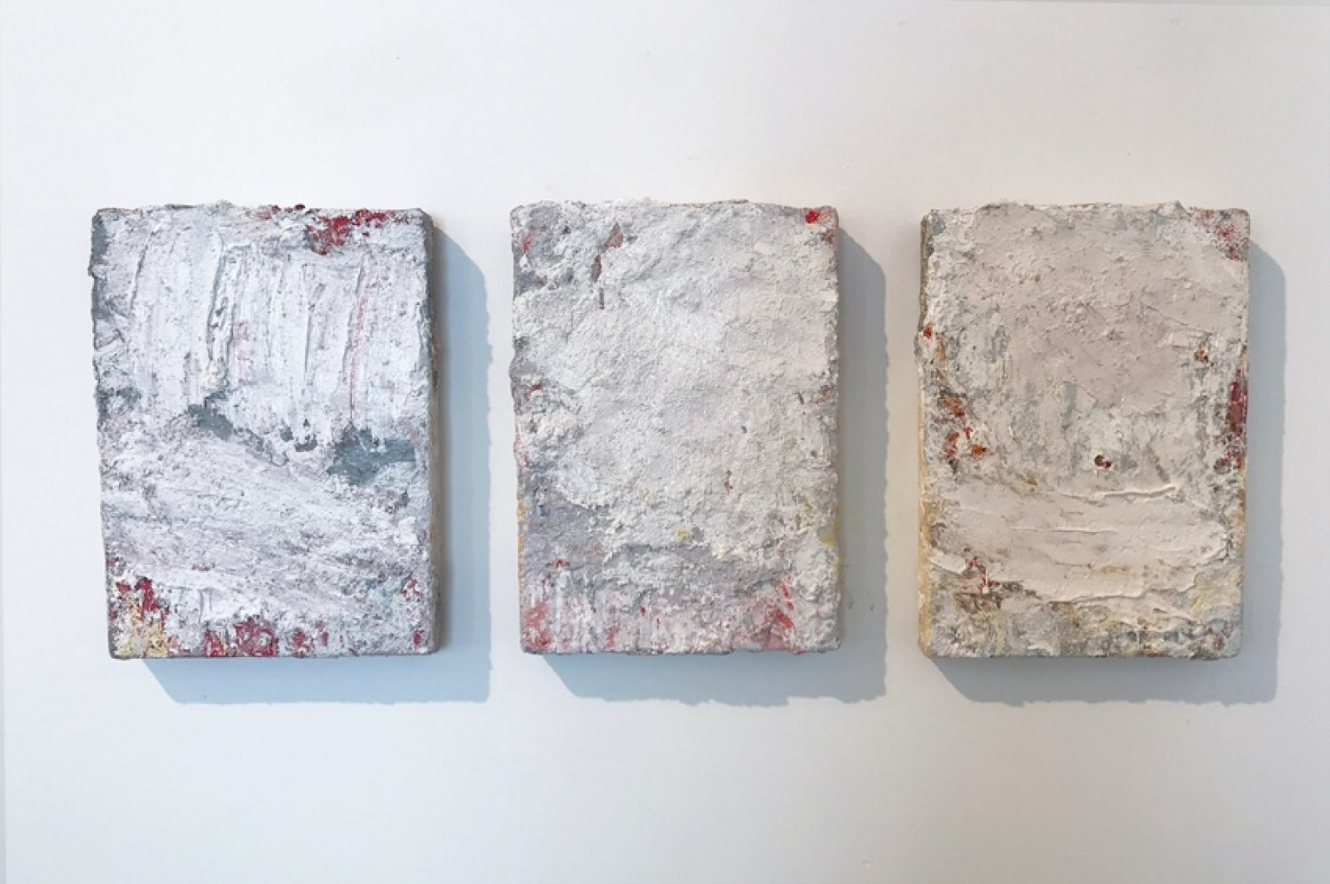 Aida Tomescu, Left: In a carpet made of water I, 2017 oil, silver pigment on Belgian linen, 36 x26 cm. Middle: In a carpet made of water II, 2017 oil, silver pigment on Belgian linen, 36 x26 cm. Right: In a carpet made of water III, 2017 oil, silver pigment on Belgian linen, 36 x 26 cm