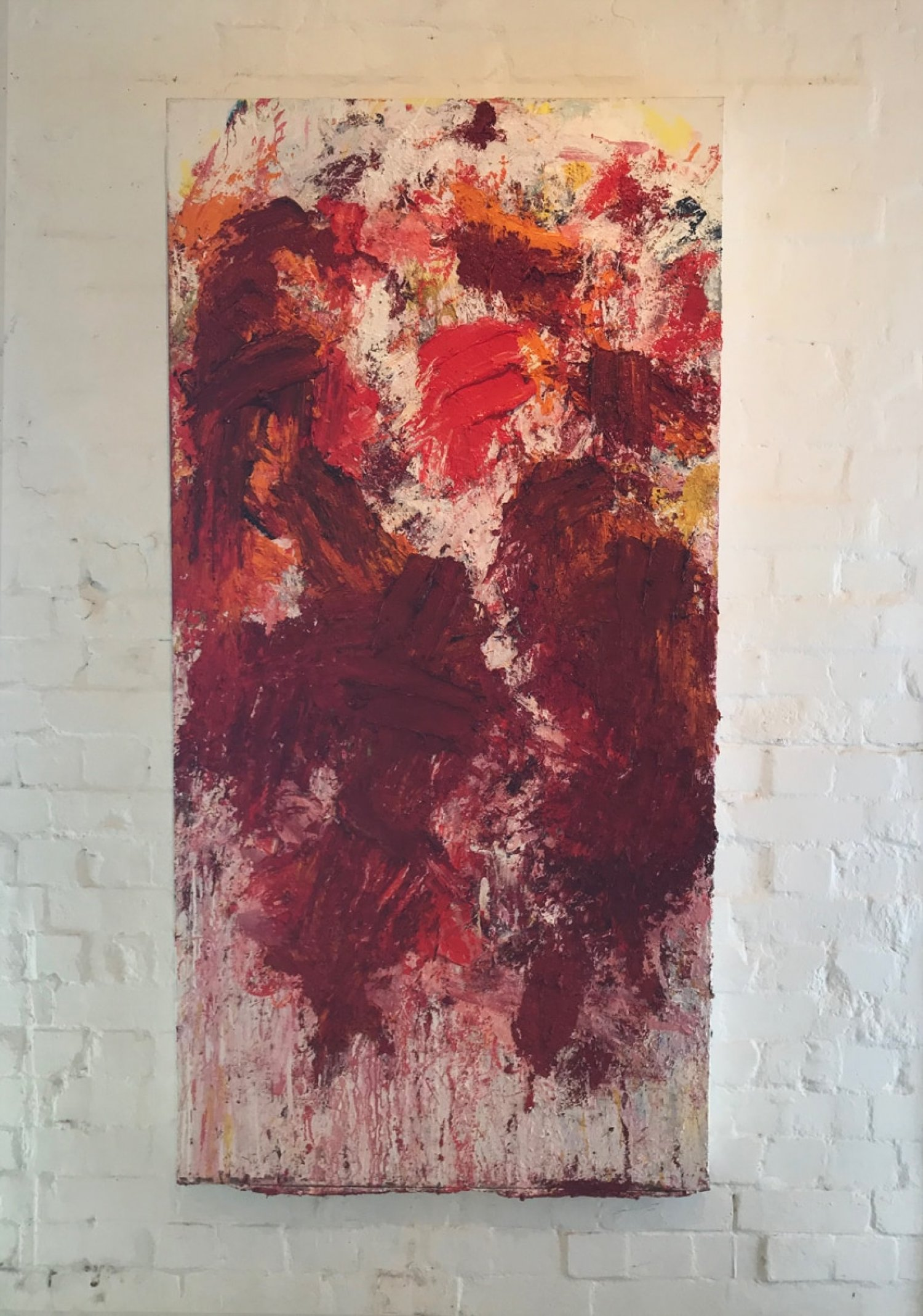 Aida Tomescu, In a carpet made of water, in a carpet made of earth I, 2017 oil, silver and gold pigment on Belgian linen, 183 x 91.5cm